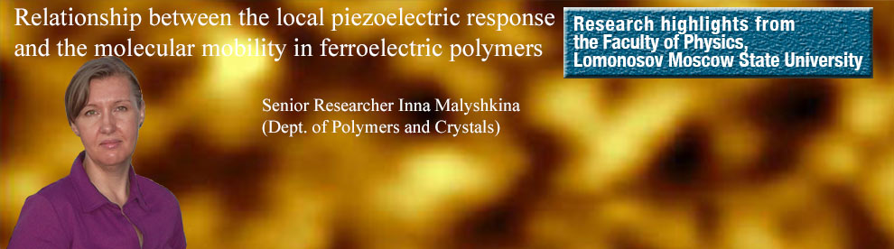 MSU physicists in collaboration with their colleagues from Karpov Institute of Physical Chemistry and National Univerisity of Science and Technology (MISIS) studied the relationship between the local piezoelectric response and the molecular mobility in ferroelectric polymers.